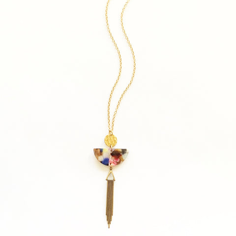 Acetate and Gold Geometry Necklace