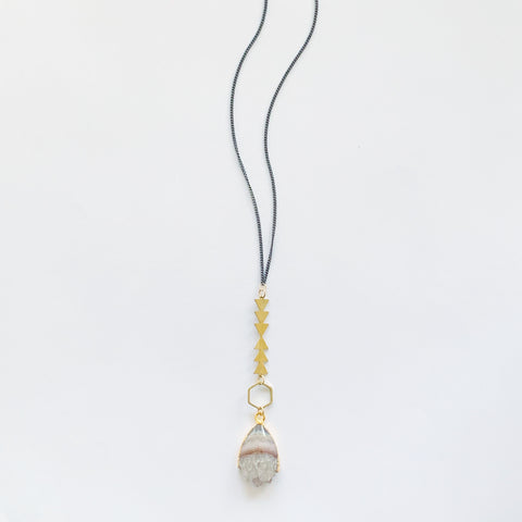 Long Geometric Shapes and Stone Necklace