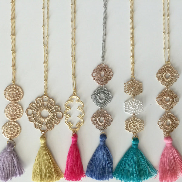 Long Filigree Tassel Necklace