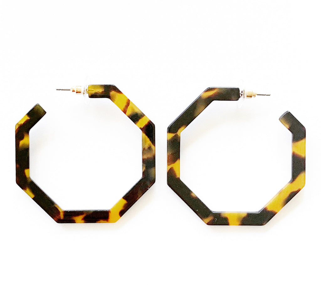 Tortoise Shell Acetate Hexagon Hoop Earrings