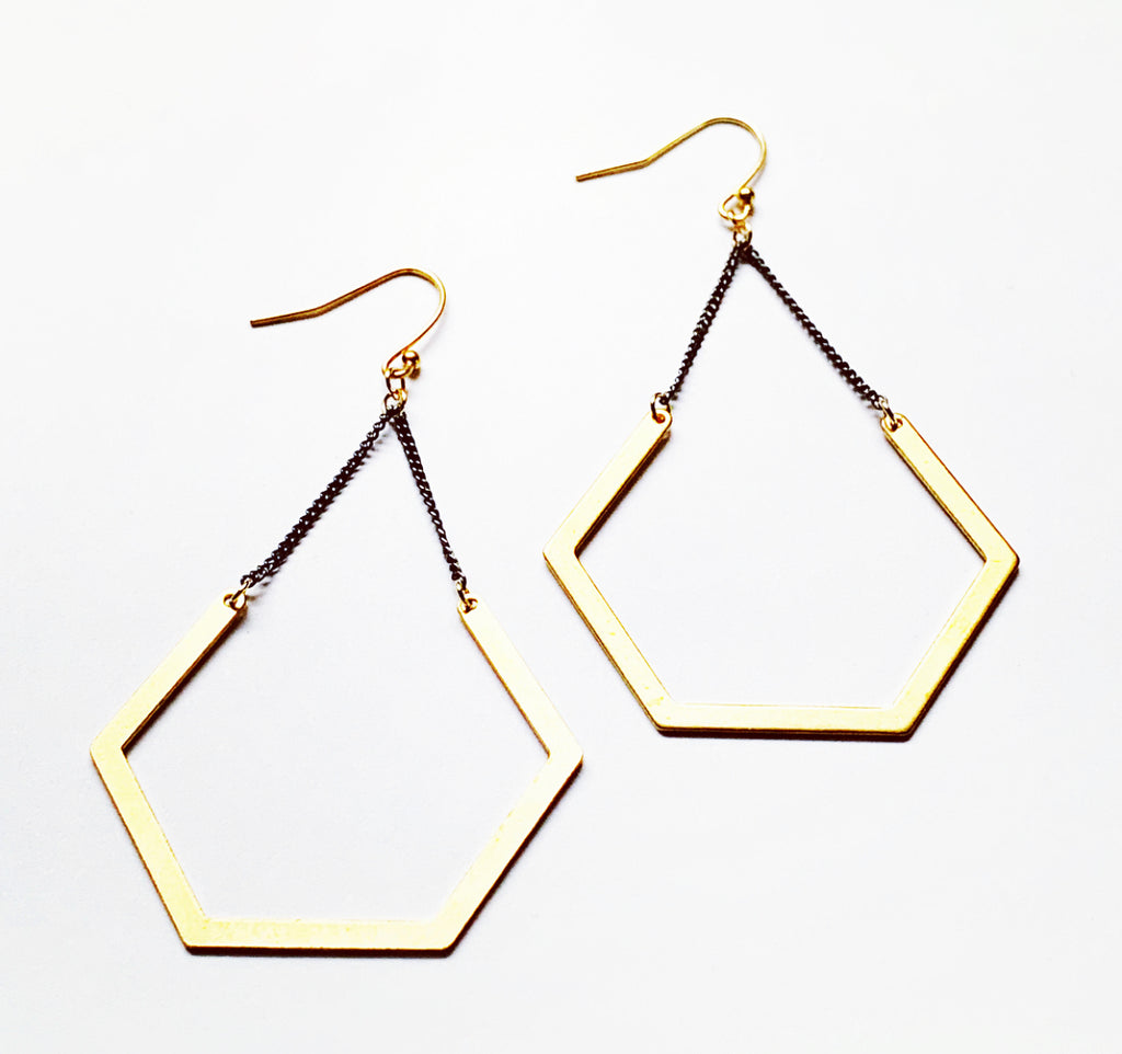 Open Hexagon Earrings