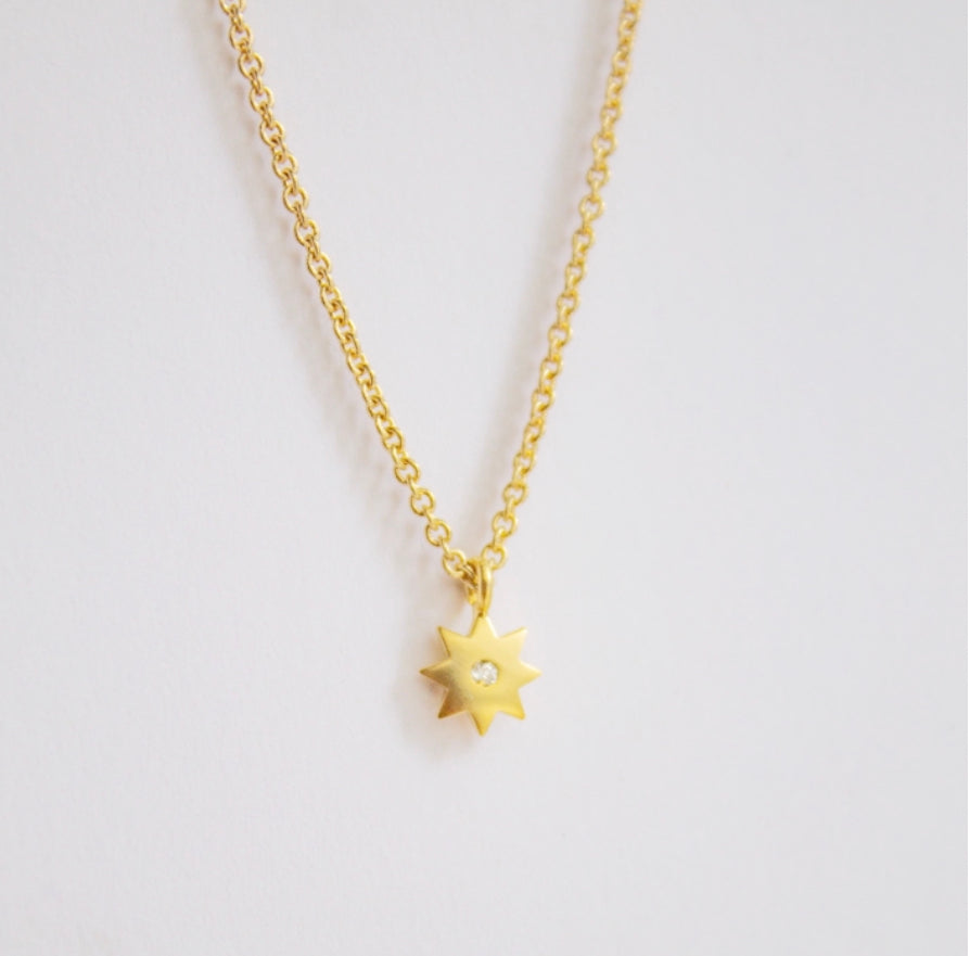 Tiny Sunburst Charm Necklace