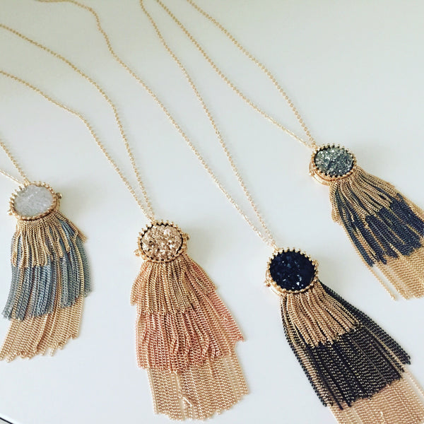 Long Druzy Fringe Necklace