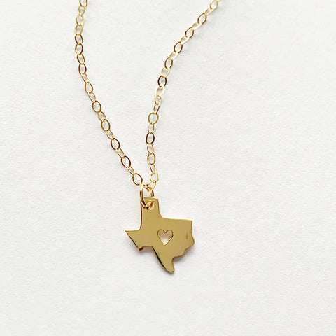 Tiny Gold or Sterling Texas Love Necklace