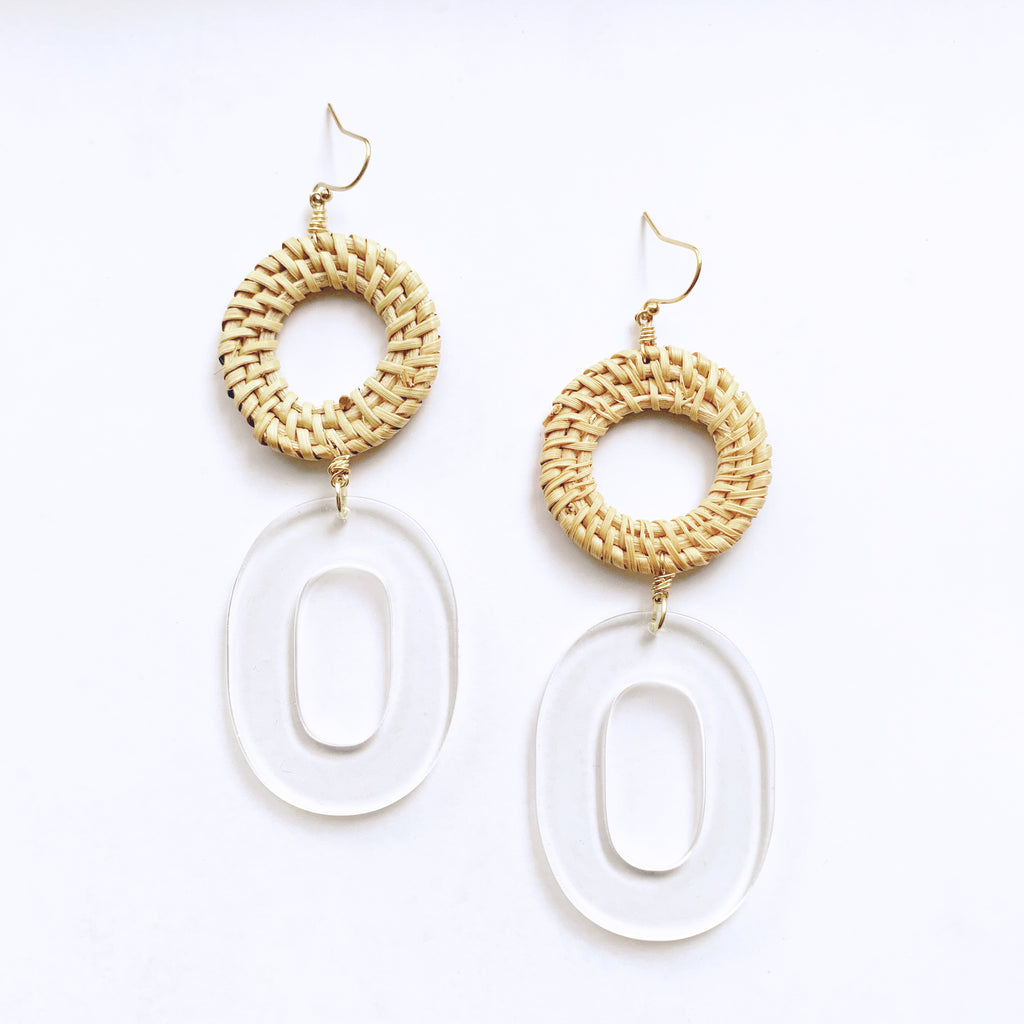 Straw Circle and Clear Acetate Oval Earrings
