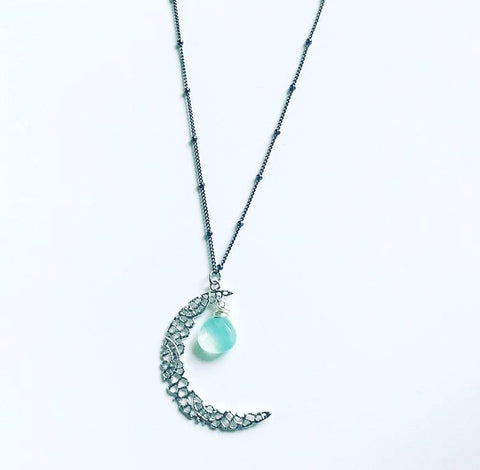 Crescent Moon and Stone Drop Necklace