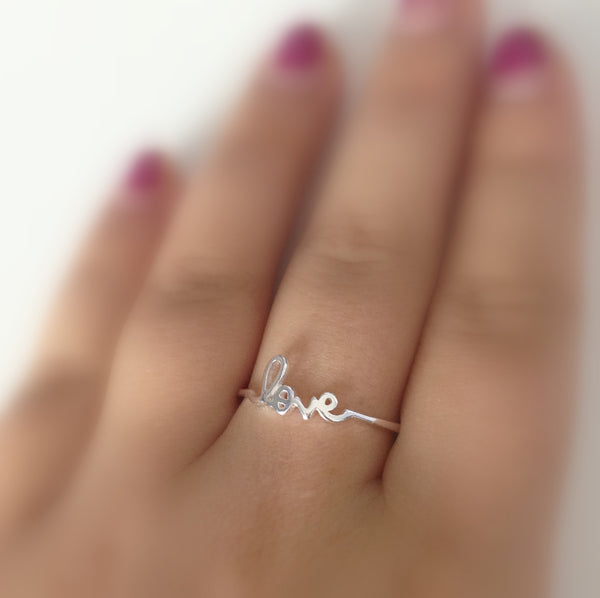 Sterling Cursive Love Ring