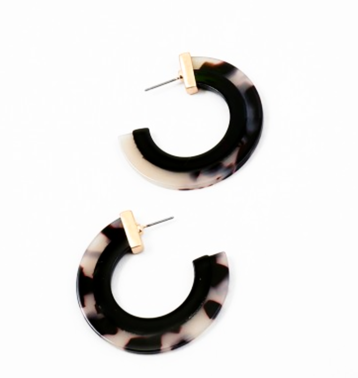Black and White Thick Acetate Hoop Earrings