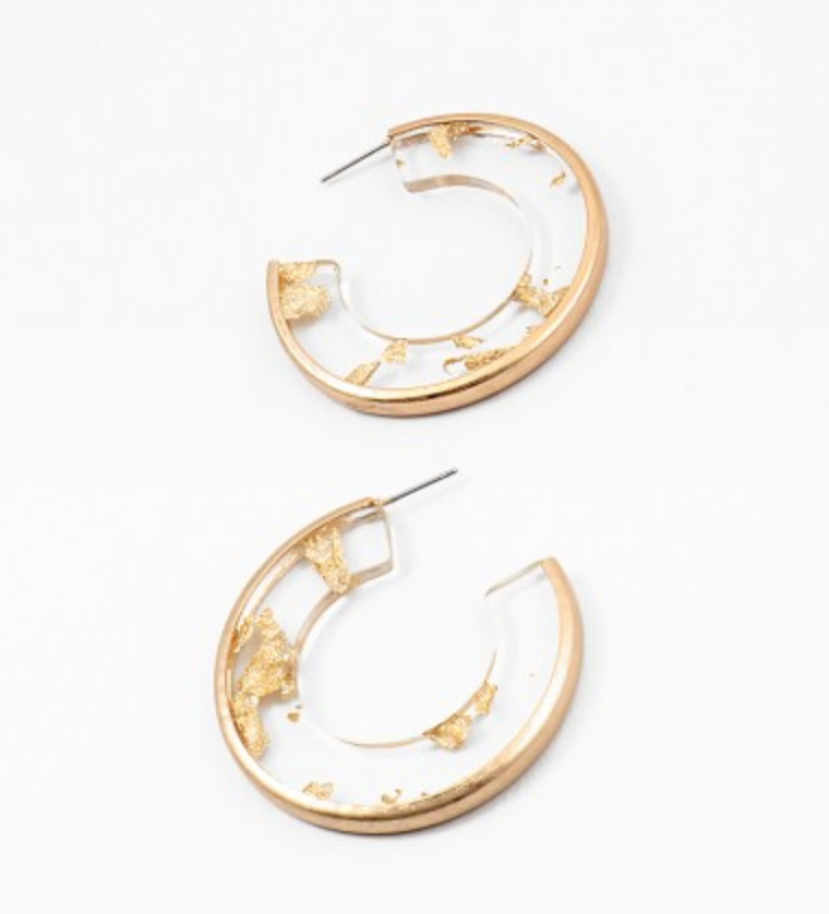 Gold Leaf Acetate Hoop Earrings
