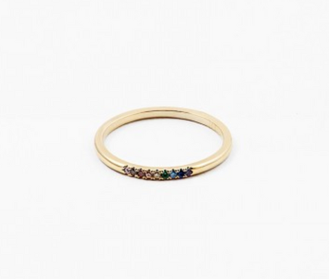 Tiny Rainbow Crystals Ring