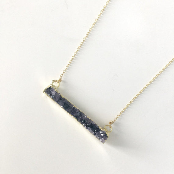 Sterling Druzy Bar Necklace