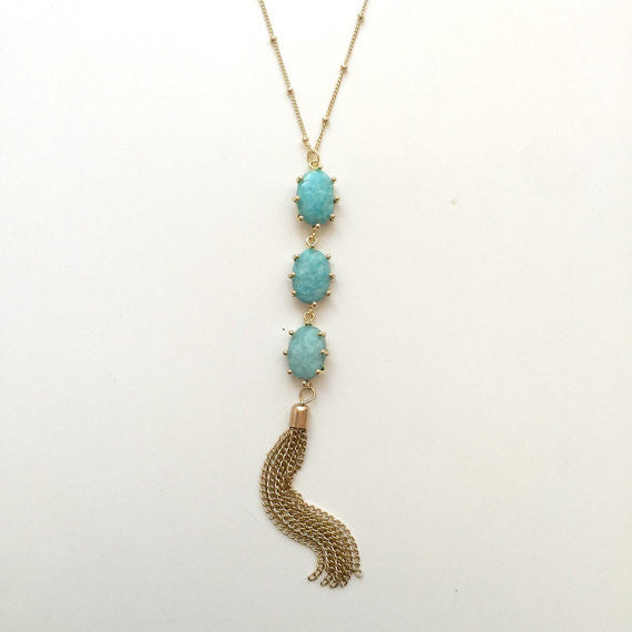 Triple Prong Stone Tassel Necklace