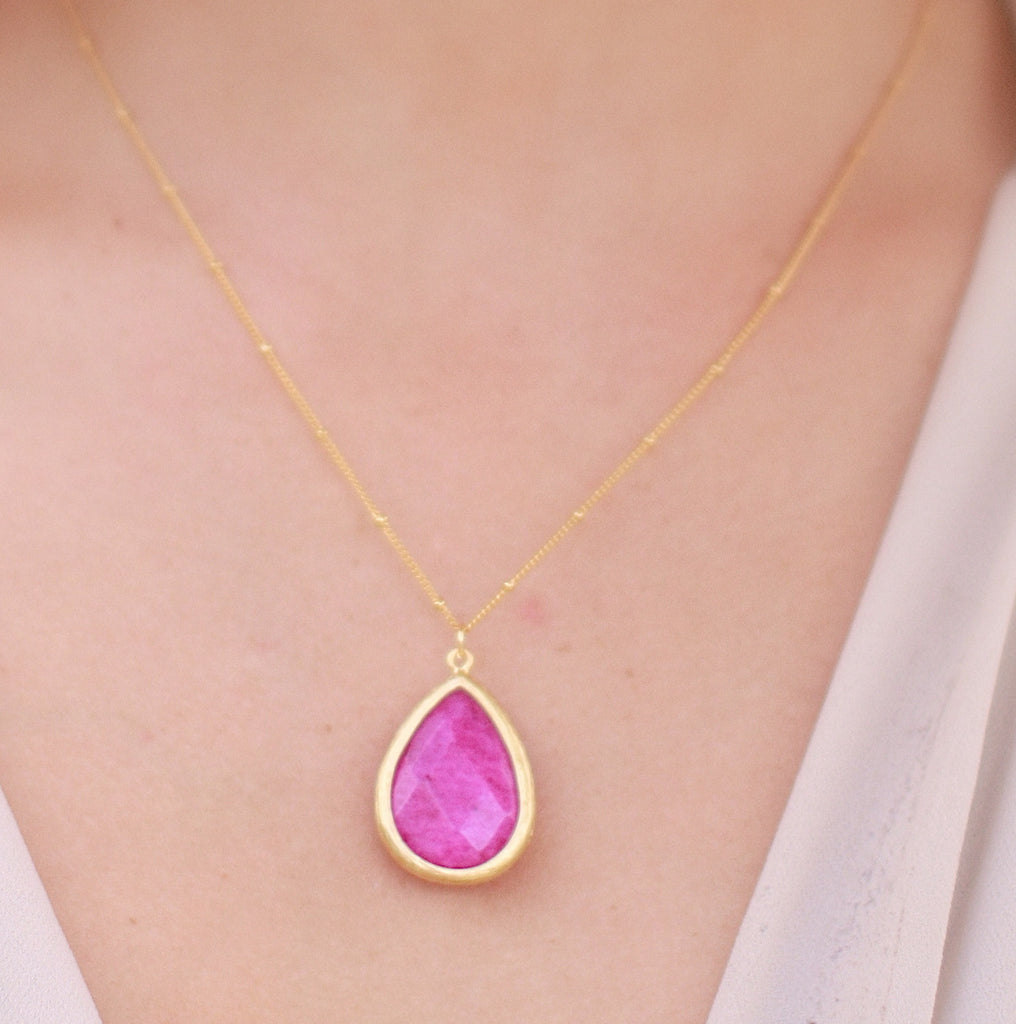 Medium Stone Drop Necklace