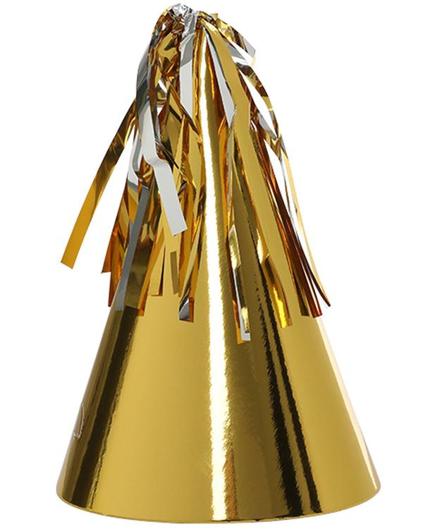 Gold Party Hat with Tassel Topper