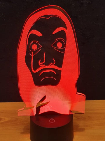 Lampe LED 3D Masque Casa de Papel