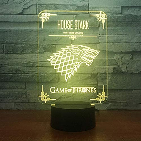 Lampe LED 3D Game Of Throne | House Stark