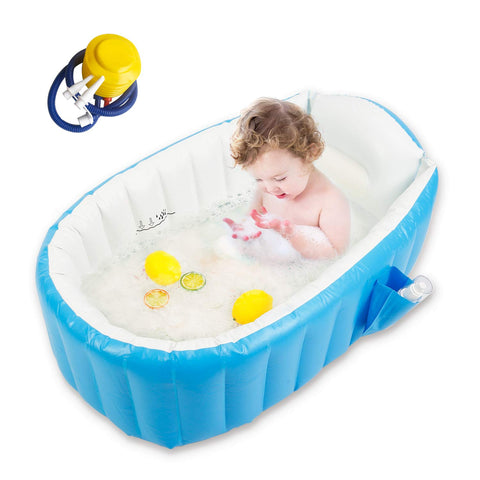 Inflatable Toddler Bathtub With Air Pump - Blue