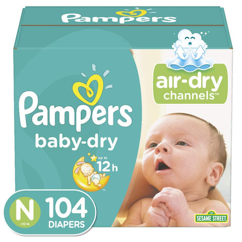Pampers Baby Dry Disposable Diapers,  Size Newborn/Size 0 (< 10 lb)
