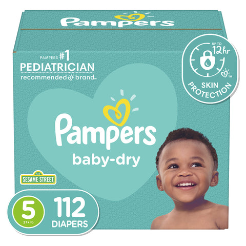 Pampers Baby Dry Disposable Baby Diapers, Giant Pack Size 5 (112 Count)