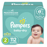 Pampers Baby Dry Disposable Baby Diapers, Super Pack Size 2 (112 Count)