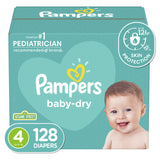 Pampers Baby Dry Disposable Baby Diapers, Giant Pack Size 4 (128 Count)