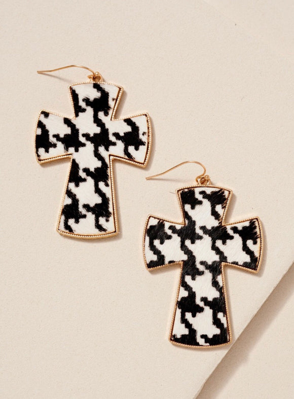 White Animal Print Cross Dangling Earrings