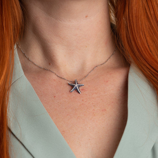 Sapphire and Diamond Starfish Pendant in 18k White Gold