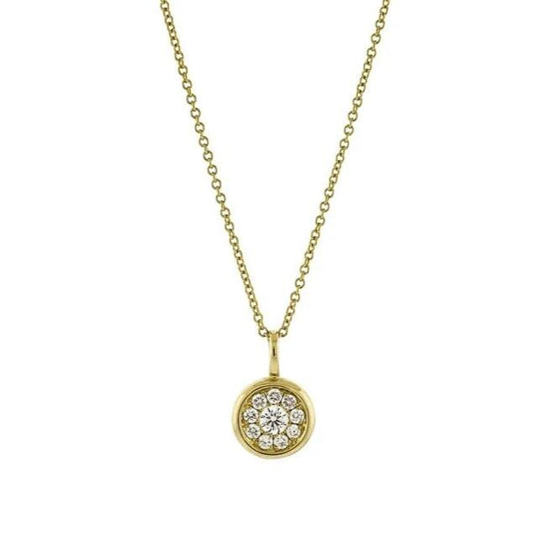 Pavé Diamond Disc Pendant in 14k Yellow Gold