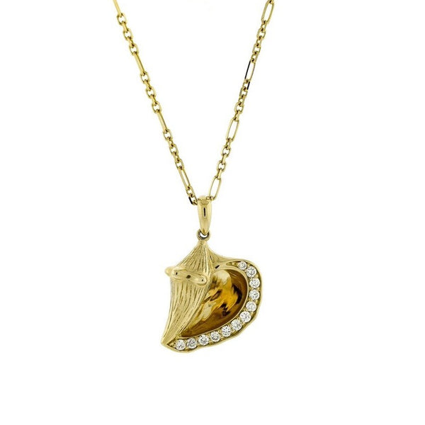 Nautical Diamond Conch Shell Pendant in 14k Yellow Gold
