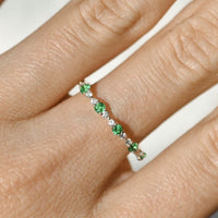 Emerald and Diamond Stackable Band in 14k Yellow Gold