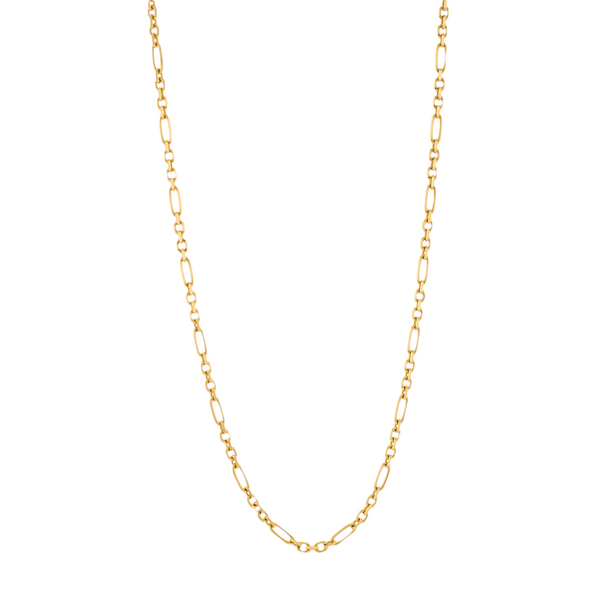Solid 14k Gold Square Figaro Chain