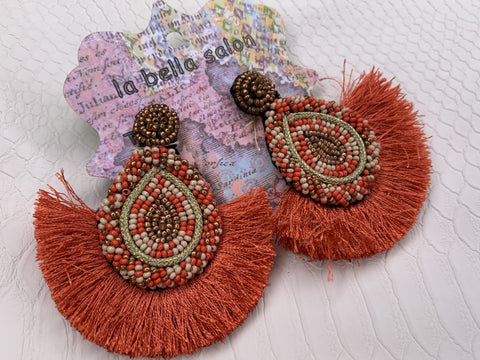 Orange Almond Earrings