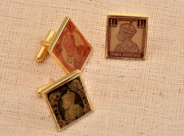Cufflinks with British India Stamps