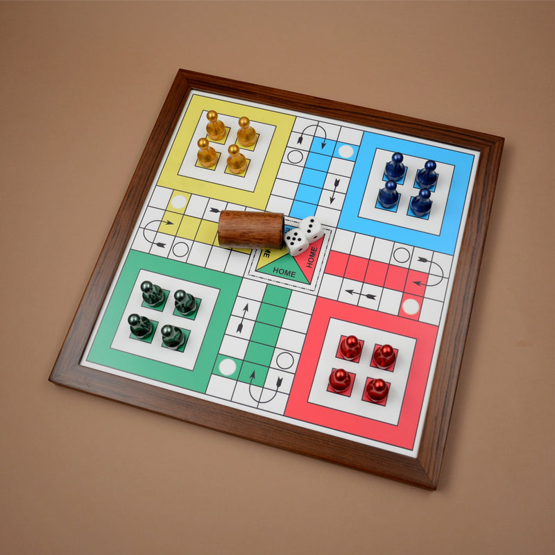 Teakwood Ludo With Metallic Tokens