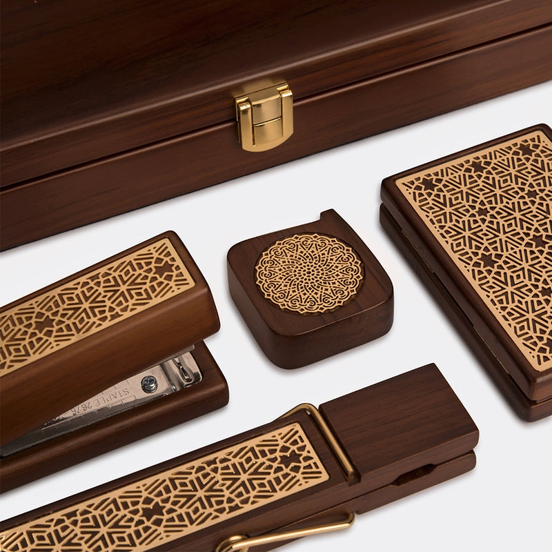 Teak Wood Office Accessory Set Jaali