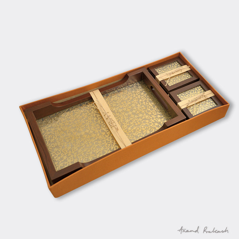 Teak Wood Serving Tray & Coasters Set T