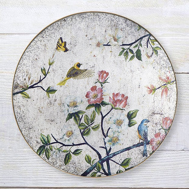 Antiqued Floral Wall Art With Birds