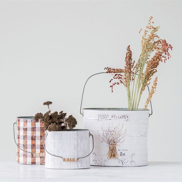 Decorative Buckets With Wood Handles, Set of 3