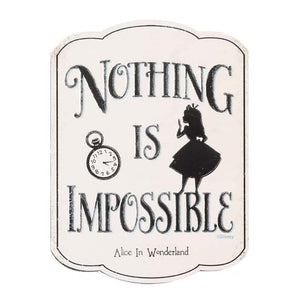 "Alice in Wonderland ""Nothing is Impossible"" Embossed Metal Magnet"