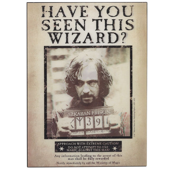 Harry Potter Sirius Black Azkaban Wanted Poster Lenticular Wall Decor