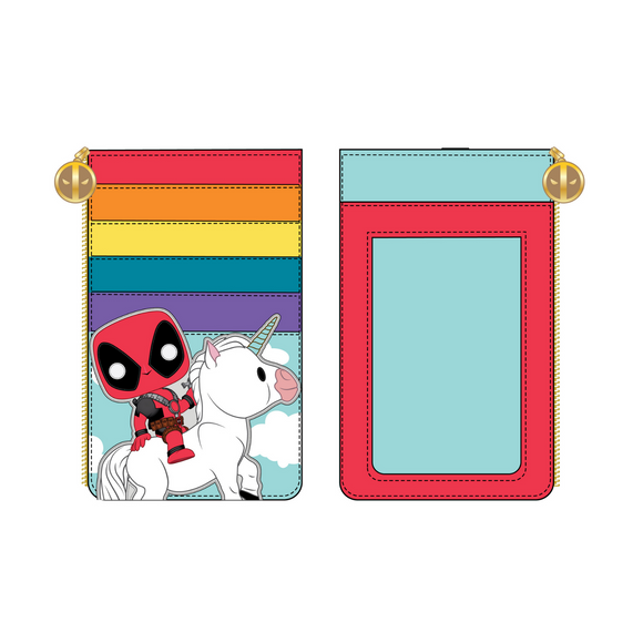 (April Catalog Pre-Order) Marvel Deadpool 30th Anniversary Unicorn Rainbow Loungefly Cardholder