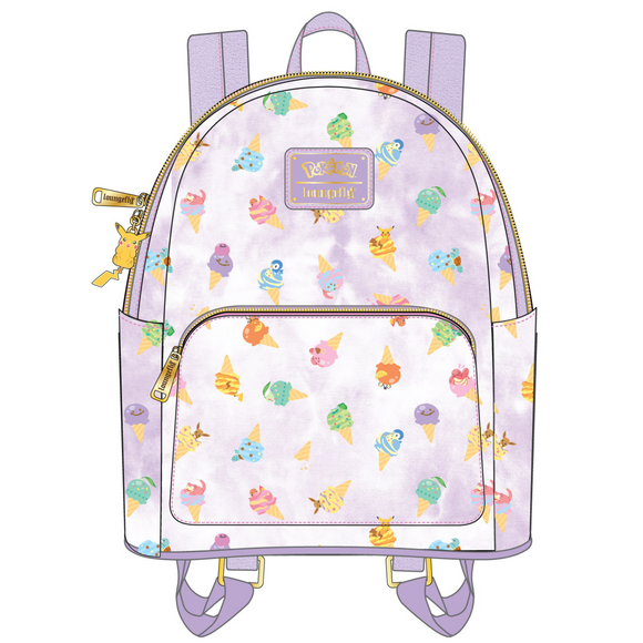 (May Catalog Pre-Order) Pokemon Ice Cream Acid Wash Denim Loungefly Mini Backpack