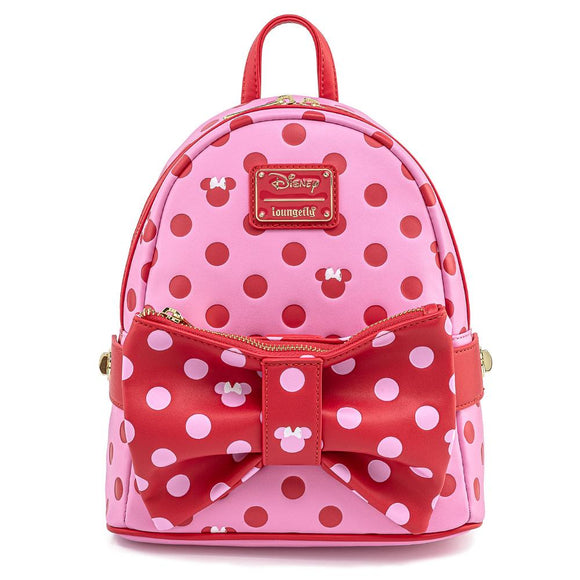 Minnie Mouse Pink Bow Loungefly Mini Backpack with Fanny Pack