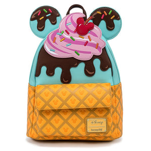 (February Catalog Pre-Order) Mickey and Minnie Ice Cream Loungefly Mini Backpack