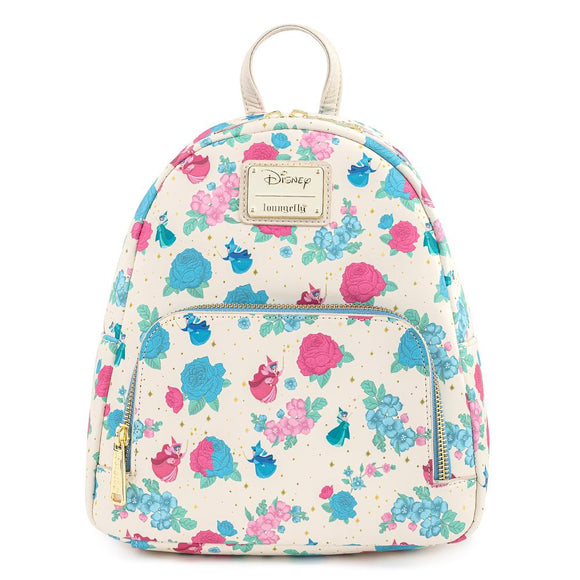 Sleeping Beauty Floral Fairy Godmother AOP Loungefly Mini Backpack