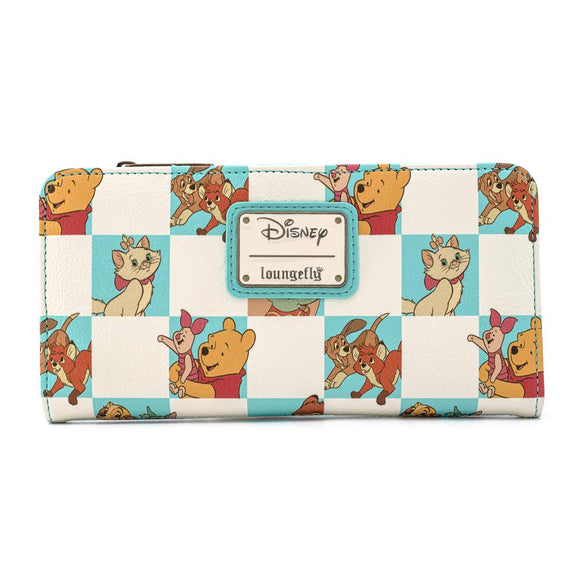 Disney Multi Character Mint Checker Loungefly Wallet