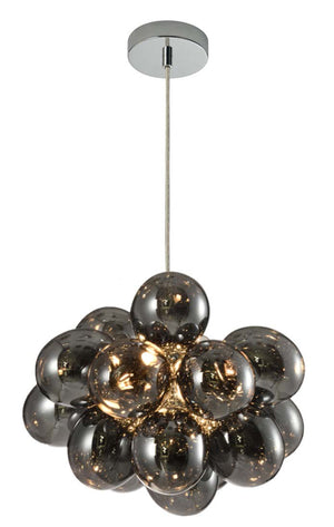 Open image in slideshow, Sorrel 3 Light Pendant - Smoke/Cognac/Iridescent Glass