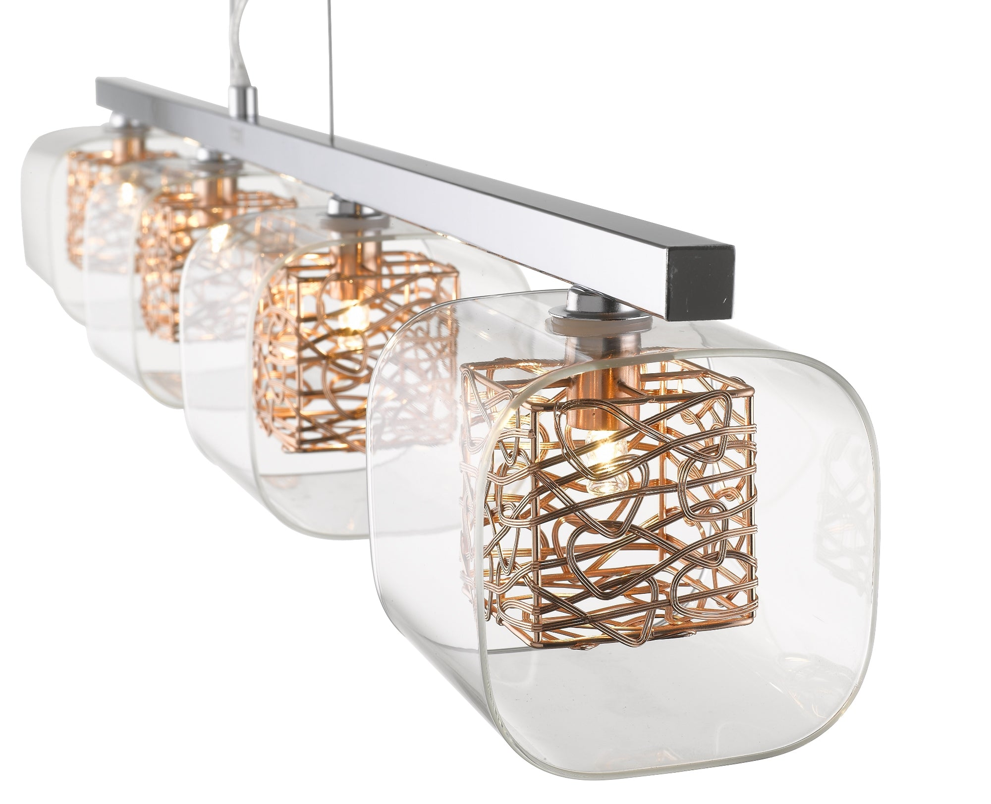 Lawson 4 Light Bar Pendant - Chrome or Copper