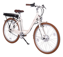 "Load image into Gallery viewer, Omega step through, low seat electric bike with 26"" wheels"