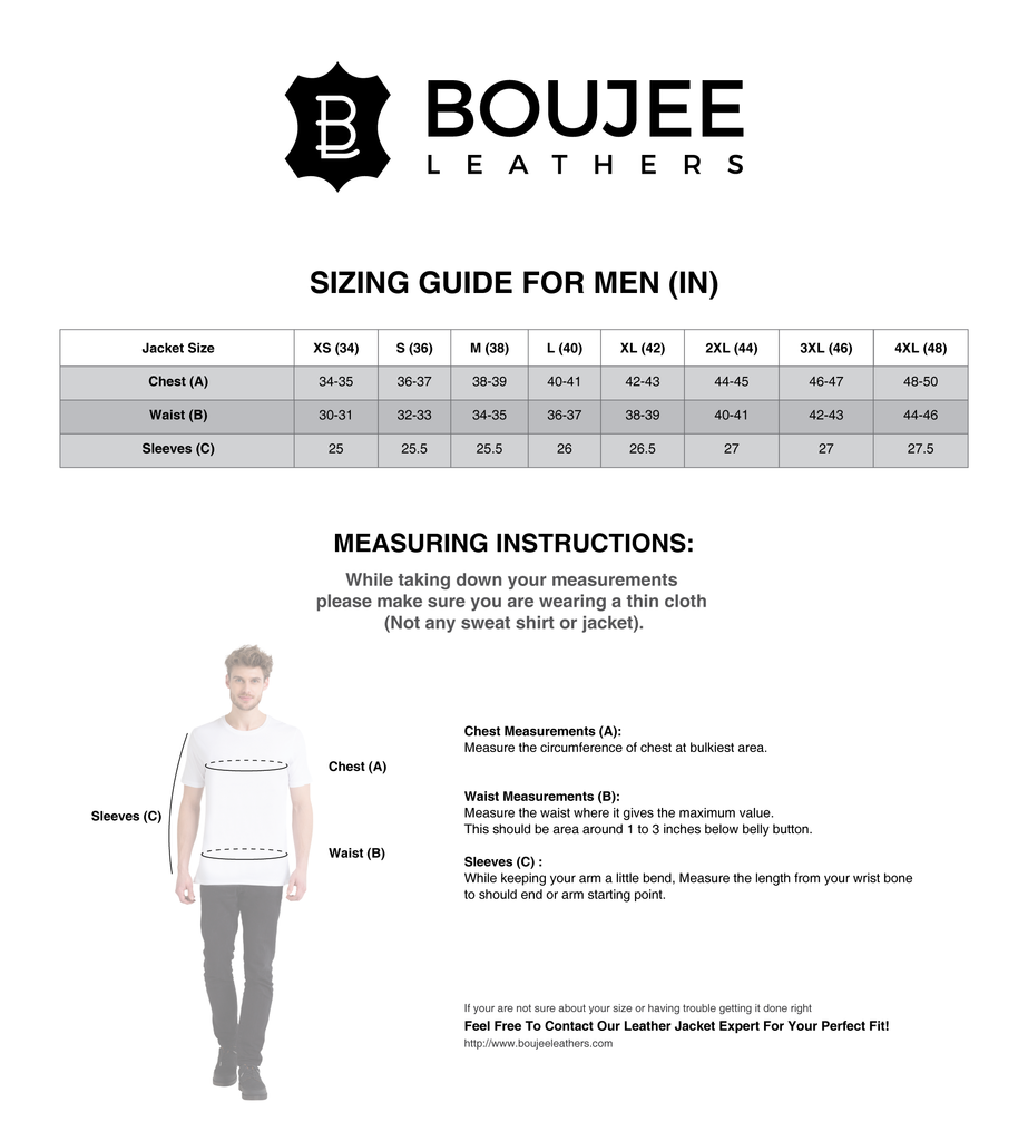 Size chart boujee leather jackets for men